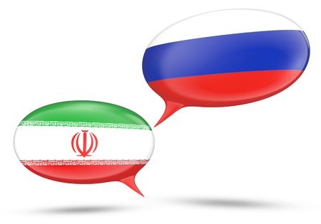 oppose: Iran - Russia relations concept with speech bubbles