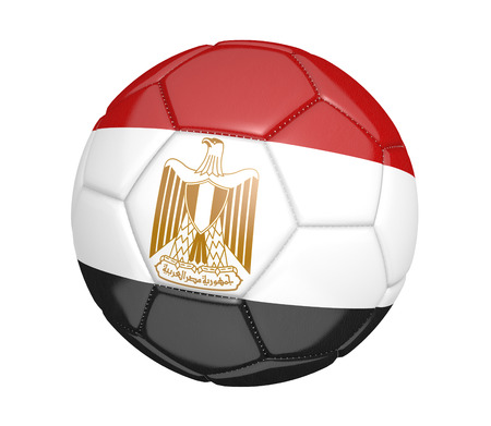 egypt flag: Soccer ball, or football, with the country flag of Egypt Stock Photo