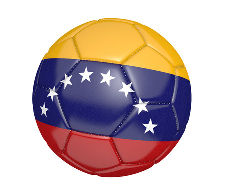 Soccer ball, or football, with the country flag of Venezuela photo