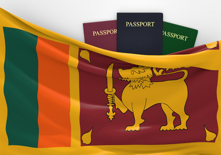 sri lankan flag: Travel and tourism in Sri Lanka, with assorted passports