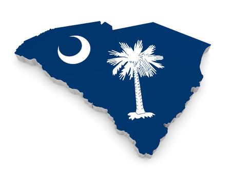 Geographic Grenze Karte und Flagge von South Carolina, The Palmetto State