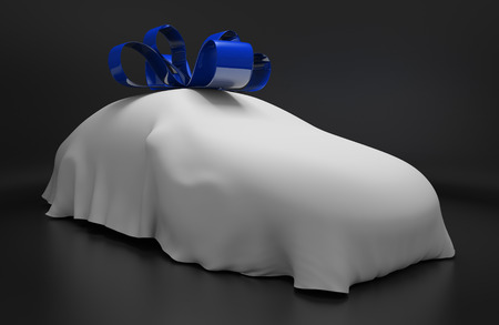unveil: Car concept of a new luxury vehicle under a white covering with a blue ribbon Stock Photo