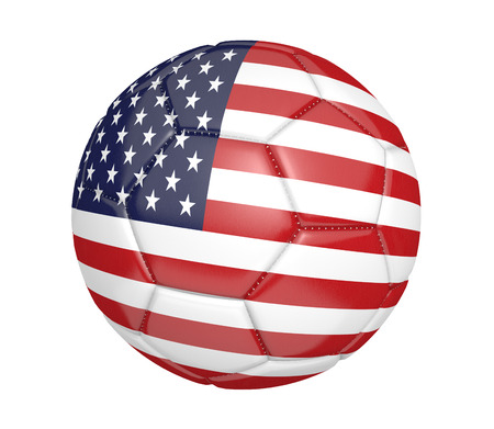 3d ball: Soccer ball, or football, with the country flag of the United States