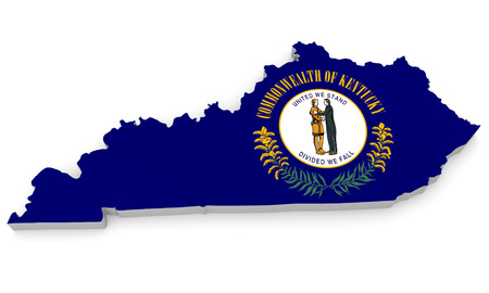 bluegrass: Geographic border map and flag of Kentucky, Bluegrass State Stock Photo