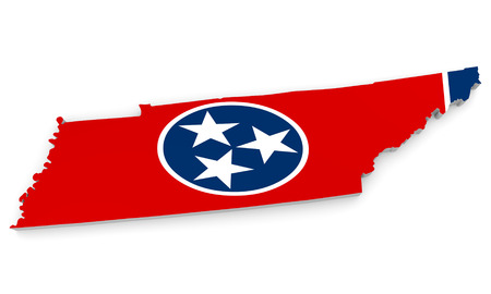 geographic: Geographic border map and flag of Tennessee, The Volunteer State