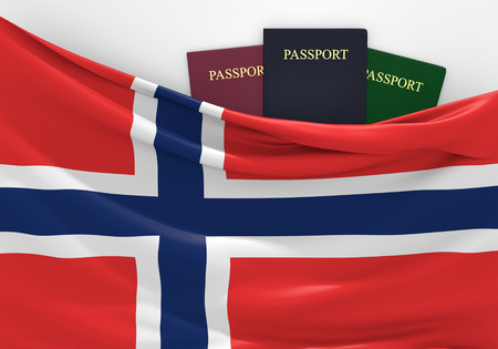 foreign nation: Travel and tourism in Norway, with assorted passports Stock Photo