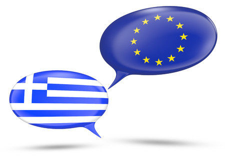 oppose: Greece - European Union relations concept with speech bubbles