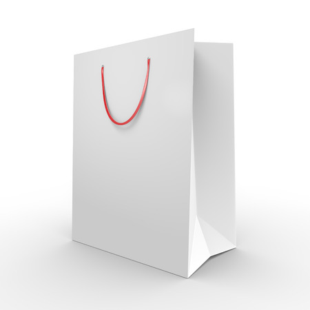 gift spending: White paper shopping bag or grocery bag with carrying handles