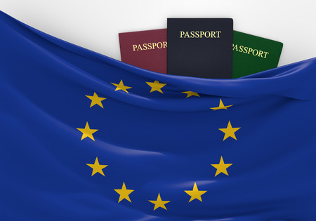 overseas visa: Travel and tourism in the European Union, with assorted passports