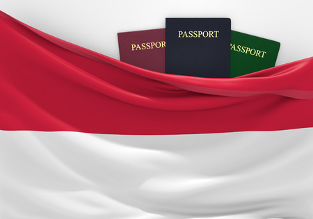 overseas visa: Travel and tourism in Indonesia, with assorted passports Stock Photo