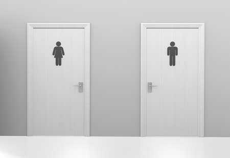 bathroom woman: Restroom doors to public toilets marked with icons for men and women