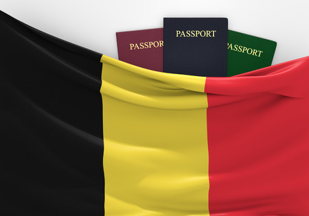 overseas visa: Travel and tourism in Belgium, with assorted passports