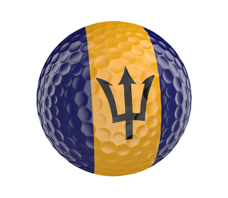barbadian: Golf ball 3D render with flag of Barbados, isolated on white Stock Photo
