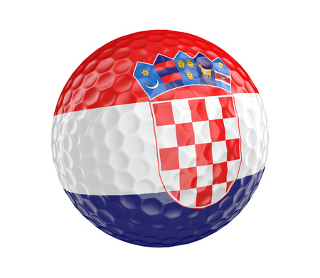 golfball: Golf ball 3D render with flag of Croatia, isolated on white