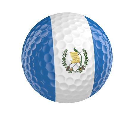 golf  ball: Pelota de golf en 3D render con la bandera de Guatemala, aislado en blanco Foto de archivo