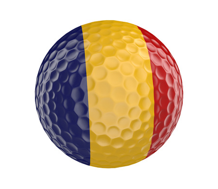 golfball: Golf ball 3D render with flag of Romania, isolated on white
