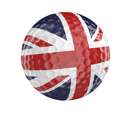 golfball: Golf ball 3D render with flag of Britain, isolated on white