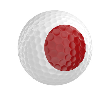 3d ball: Golf ball 3D render with flag of Japan, isolated on white Stock Photo