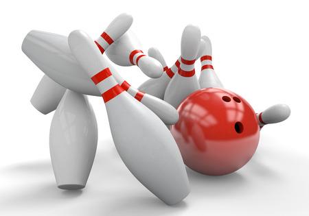 bolos: Red 3D bola de boliche estrellarse contra pines para una huelga