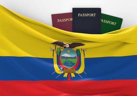 ecuadorian: Flag of Ecuador with assorted passports