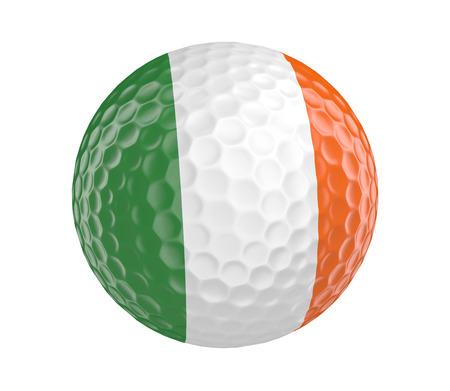 golf  ball: Pelota de golf en 3D render con la bandera de Irlanda, aislado en blanco Foto de archivo