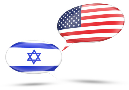 oppose: Israel - United States relations concept with speech bubbles Stock Photo