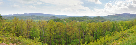 wnc: Wide panorama of the Appalachian Mountains in April with fresh green spring leaves