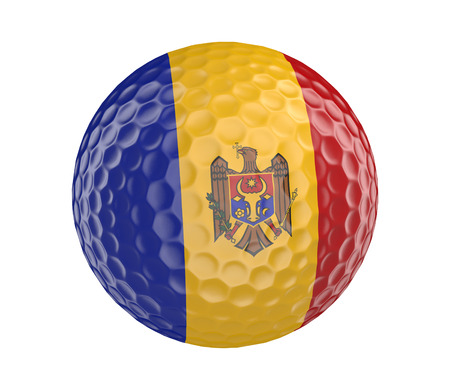 golfball: Golf ball 3D render with flag of Moldova, isolated on white