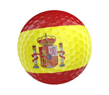 golfball: Golf ball 3D render with flag of Spain, isolated on white