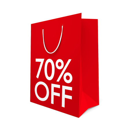 sale off: Red paper shopping bag for a 70 percent off sale