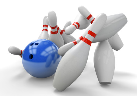Blue 3D bowling ball smashing into pins for a strike Stock Photo