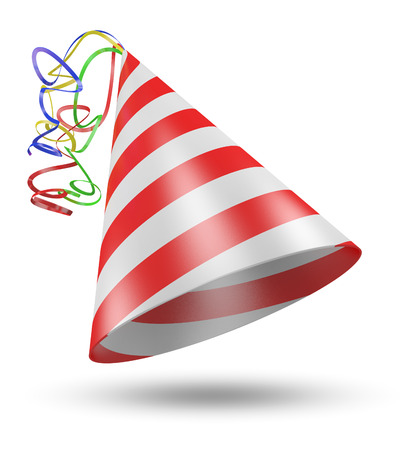 cone shaped: Cone shaped birthday party hat with stripes and ribbons