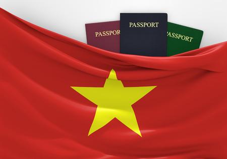 旅行や各種パスポートと、ベトナムの観光 写真素材