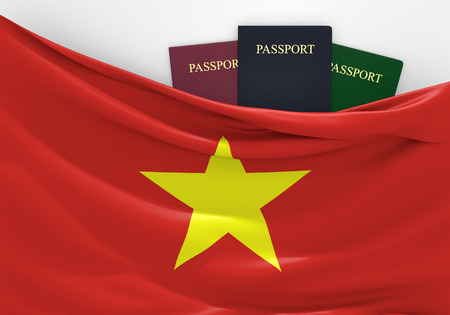 overseas visa: Travel and tourism in Vietnam, with assorted passports