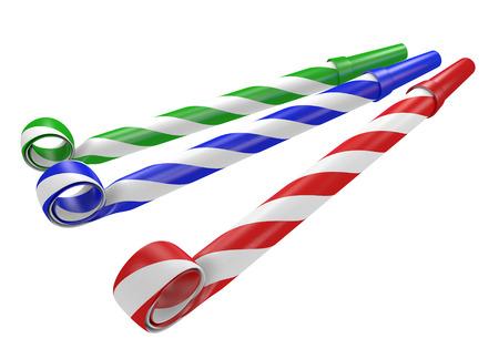 Gestreepte rode, blauwe en groene noisemaker partij hoorns Stockfoto - 39566323
