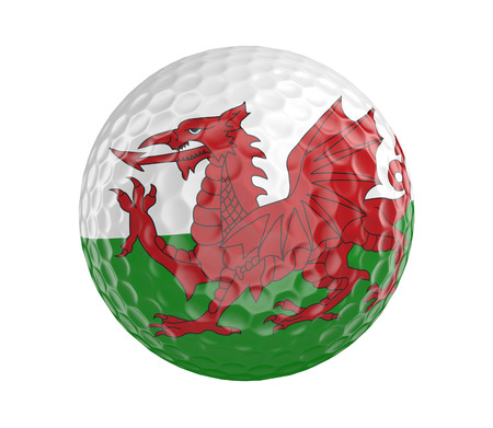 wales: Golf ball 3D render with flag of Wales isolated on white Stock Photo