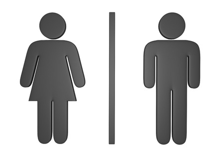 latrine: 3D male and female gender icons used to mark public restrooms Stock Photo