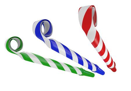 誕生日パーティーやお祝いに 3 D 鳴り物紙角 写真素材