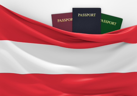 overseas visa: Travel and tourism in Austria, with assorted passports