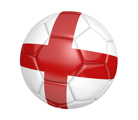 kickball: Soccer ball, or football, with the country flag of England