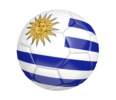 kickball: Soccer ball or football with the country flag of Uruguay Stock Photo