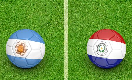 kickball: 2015 Copa America football tournament, teams Argentina vs Paraguay