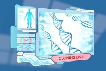 clonacion: La ciencia m�dica concepto de ficci�n de la clonaci�n de ADN a trav�s de los avances de la biotecnolog�a futuristas Foto de archivo