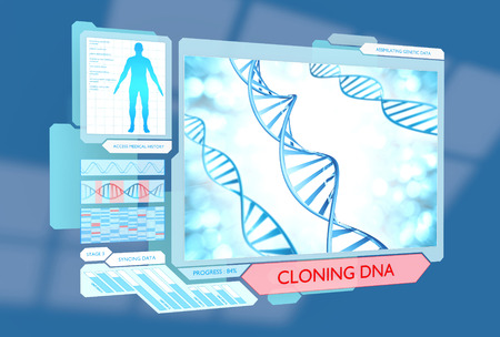 cloning: Medical science fiction concept of DNA cloning via futuristic biotechnology advances