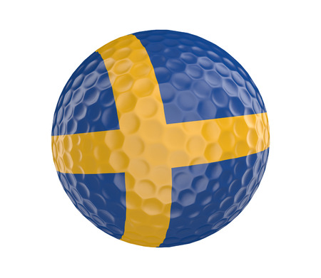 golfball: Golf ball 3D render with flag of Sweden, isolated on white Stock Photo