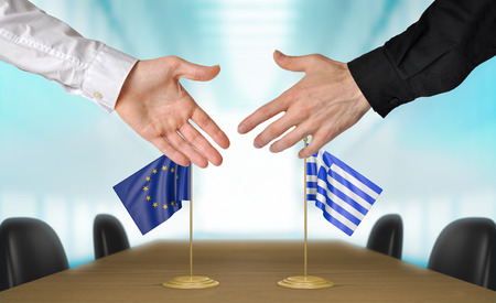 greece flag: European Union and Greece diplomats agreeing on a deal