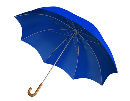 weather protection: Blue umbrella or parasol with classic curved handle