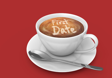 first date: Latte art message in a coffee cup that says first date