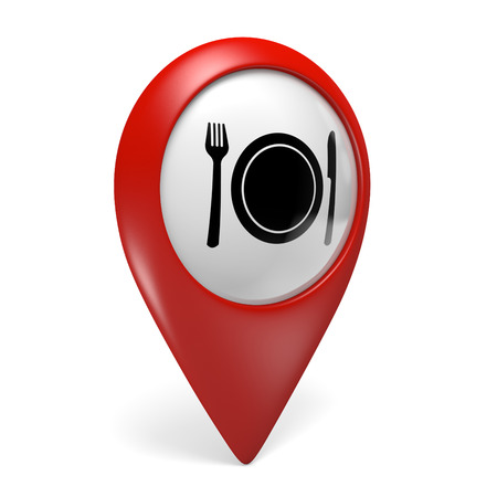diners: 3D red map pointer icon with a food symbol for restaurants and diners Stock Photo