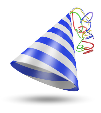 3D birthday party cone hat with blue stripes and shiny ribbons Imagens